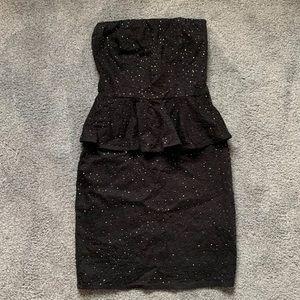 Zara Black Mini Sparkle Peplum Dress